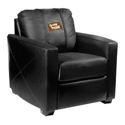Dreamseat Inc. - Fisherman - Gone Fishing Xcalibur Leather Arm Chair - Check out this incredible Arm Chair. It's the ultimate in modern styled home leather furniture, and it's one of the coolest things we've ever seen. This is unbelievably comfortable - once you're in it, you won't want to get up. Features a zip-in-zip-out logo panel embroidered with 70,000 stitches. Converts from a solid color to custom-logo furniture in seconds - perfect for a shared or multi-purpose room. Root for several teams? Simply swap the panels out when the seasons change. This is a true statement piece that is perfect for your Man Cave, Game Room, basement or garage.