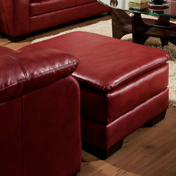 "Acme Furniture - Jeremy Ottoman in Soho Cardinal Bonded Leather - Jeremy Ottoman in Soho Cardinal BLM; Finish: Soho Cardinal BLM; Materials: Bonded Leather Match; Weight: 22 lbs; Dimensions: 34""L x 22""D x 18""H"