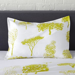 "Marimekko Rantapuisto Citron Standard Sham - Global forest plants citron silhouettes of the world's trees on crisp white cotton percale bedding, artfully rendered in designer Fujiwo Ishimoto's painted design. Inspired by his observations of nature in many settings, the pattern is named Rantapuisto, a Finnish word meaning ""beach park."" Sham has a 1"" flange and generous overlapping back closure. Bed pillows available."