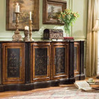 Hooker Furniture - Hooker Furniture Vicenza 87-inch Shaped Credenza 967-50-001 - This imposing credenza is featured in our Vicenza color palette with a heavy gesso black finish with gold accents. It has four doors with one shaped adjustable shelf behind each.