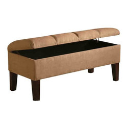 Adarn Inc - LEWIS Faux Leather Microfiber Button Tufted Upholstered Storage Bench, Tan - Add function and charm to your bedroom with this upholstered storage bench. The button tufted seat is upholstered in either a deep brown leather-like vinyl or soft tan microfiber fabric. Tapered wood legs add to sleek style, while the top opens and provides storage space for extra linens a pillows. Arrange with the coordinating upholstered headboard for a harmonious look.