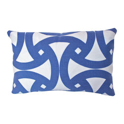 The Pillow Studio - Marine Blue and Ivory Santorini Indoor Outdoor Schumacher Lumbar Pillow Cover, - I love the geometric design on this pillow and how the sapphire blue provides such a great contrast against the ivory.