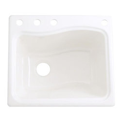 Kohler - Kohler River Falls Undermount Cast Iron 4-hole White Utility Sink - Update your home with this functional and stylish utility sink from Kohler. This River Falls undermount sink is constructed using durable and sleek vitreous china for an impressive look that will endure for years to come.