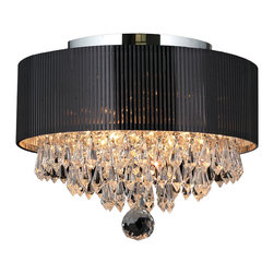 Worldwide Lighting - Gatsby 3 Light Chrome Finish Crystal Flush Mount Ceiling Light Black Drum Shade - This stunning 3-light Flush Mount Ceiling Light only uses the best quality material and workmanship ensuring a beautiful heirloom quality piece. Featuring a radiant Chrome finish and black drum shade over finely cut premium grade crystals with a lead content of 30%, this ceiling light will give any room sparkle and glamour. Worldwide Lighting Corporation is a privately owned manufacturer of high quality crystal chandeliers, pendants, surface mounts, sconces and custom decorative lighting products for the residential, hospitality and commercial building markets. Our high quality crystals meet all standards of perfection, possessing lead oxide of 30% that is above industry standards and can be seen in prestigious homes, hotels, restaurants, casinos, and churches across the country. Our mission is to enhance your lighting needs with exceptional quality fixtures at a reasonable price.