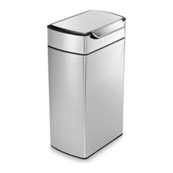 Simplehuman - simplehuman 40-Liter Rectangular Brushed Stainless Steel Touch Bar Trash Can - This touch-bar can is a great alternative to the classic soft touch or pedal bin. Just tap the touch-bar gently with a hand or nudge with a knee to release the latch and open the lid.