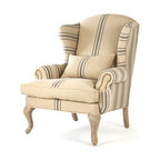 Kathy Kuo Home - Zacharie Khaki Linen English Wing Chair with Blue Stripe - A classic silhouette with understated features making way for a modern blue stripe pattern to catch the eye and interest. Its slender arms are gently rolled with nail head embellishments while the tightly upholstered back and seat in a textured linen weave are perfectly accented by neutral reclaimed oak legs. A back accent pillow invites for a comfortable seat.