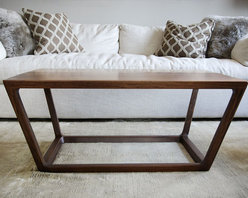 The Uptown Coffee Table - Brandner Design - The Uptown Coffee Table is a sophisticated design with soft lines and a confident stance.  Handmade from Black Walnut with the highest attention to detail and quality.  Sealed with a durable lacquer clearcoat, this table will withstand years of use and still look timeless.  Available as a dining table in custom sizes.  Contact us at sales@brandnerdesign.com.