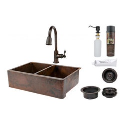 None - 33-inch Hammered Copper 50/50 Double Basin Sink and Faucet Package - 33-inch Hammered Copper 50/50 Double Basin Sink and Faucet Package