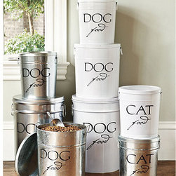 Ballard Designs - Pet Food Canisters -White Lacquer Finish - Sturdy lidded canisters are made of powder coated steel with easy to grip bail handles. Includes aluminum scoop. Available in galvanized steel finish or white lacquer finish. Specify Dog or Cat canister.