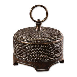 Uttermost - Aubriana Box With Ring Style Handle And Beaded Accent - Aubriana Box With Ring Style Handle And Beaded Accent