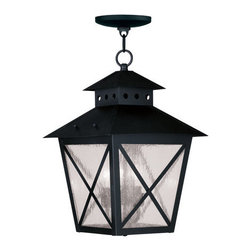 """Livex Lighting - Livex Lighting 2675 Montgomery Outdoor Pendant - Livex Lighting 2675 Montgomery Three Light Outdoor PendantFeaturing a prominent workman style design, the Montgomery 17.75"""" tall three light outdoor pendant features a simple rustic kerosene lamp design with a perforated chimney, four sided roof, and clear seedy glass with """"x"""" shaped guards. This arts and crafts style light will enhance the look of any outdoor decor.Livex Lighting 2675 Features:"""