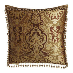 "Austin Horn Classics - Austin Horn Classics Botticelli European Sham with Onion Fringe - Bronze ""Botticelli"" bed linens are an elaborate mixture of patterns, textures, and trimmings. Made in the USA of polyester/rayon, rayon velvet, and silk. Dry clean. Hand-quilted comforters, edged with cording, have moire backing. Striped, gathered dus..."