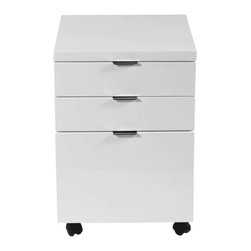 Eurostyle - Eurostyle Gilbert File Cabinet w/ Casters in White Lacquer - File Cabinet w/ Casters in White Lacquer belongs to Gilbert Collection by Eurostyle Gilbert designs office furniture with excellent bones. Strength and functionality come together in a line of basic office pieces that are hard-working, long lasting, and no nonsense classics. Seriously. The high gloss finish in white or black lends a sense of elegance to the office. It's also easy to clean and polish. And locking casters are perfect to keep your business on the move. Or not. File Cabinet (1)