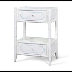 Bungalow 5 - Bungalow 5 Pamela 2-Drawer Side Table, White/Blue - Dimensions 19.5 X 17 X 30.5H