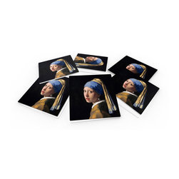 """Custom Photo Factory - Johannes Vermeer Girl with a Pearl Earring Crystal Clear Glass Coaster Sets - Made in the USA. Materials: Smooth tempered glass. Set includes:  (6) drink coasters. Dimensions:  3.94"""" x 3.94"""" x 3/16"""".  Image imprinted on the backside so the item on top of the coaster is never interacting with the print surface. The crystal clarity of our glass coasters delivers reliably uniform color reproductions. Crafters, artists and interior designers will find countless ways to use the features of these glass coasters. This will be the highest quality coasters you've even seen."""