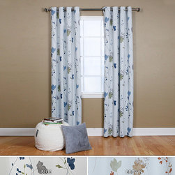 None - Flower Printed 84-inch Grommet Curtain - Soft flower prints add a fresh and cheerful look to this room with darkening curtains. This curtain helps darken any room at any time of the day,blocks out sunlight and street lights.