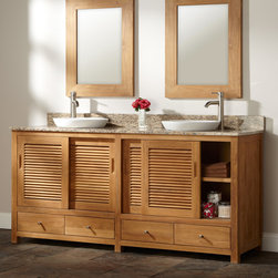 "72"" Arrey Teak Double Vanity for Semi-Recessed Sinks - Sliding louvered doors lend a casual grace to the 72"" Arrey Teak Vanity. Made of durable, golden teak, this double vanity is ideal for a busy couple or family."