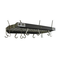 J.K. Adams - Mini Ceiling Oval Pot Rack, Gray - If you've got a cabinet-challenged kitchen, look no further than over your head. The metal grid holds a heck of a lot of pots, pans, lids and utensils. Hang it up and get cooking!