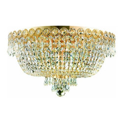 "PWG Lighting / Lighting By Pecaso - Agathe 6-Light 18"" Crystal Flush Mount 1615F18G-SS - This classical Agathe Crystal Chandelier with flowing symmetrical shape and nearly invisible frame offers a striking surge of brilliant light. Sconces and ceiling mounts enhance your room decor."