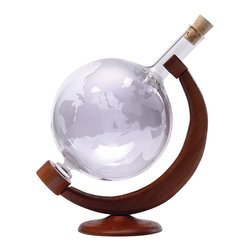 Wine Decanter Etched World Globe 34oz - Our World Globe Decanter is designed to open the bouquet and flavor of your favorite liquors; brandy, port, cognac, whiskey or red wine. The wide base provides maximum aeration. As turning the decanters its contents will aerate to open up the flavors, allowing the aromas to develop. Wonderful corporate gift ideas for employees, colleagues, and vendors. Hand blown by a master craftsman in Hungary.