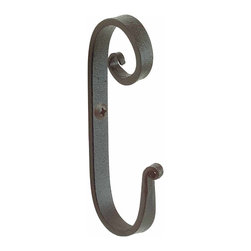 "Renovators Supply - Robe Hooks Black Wrought Iron Robe Hook - Robe hooks protected by our exclusive Renovator's Supply Black finish. This pigtail robe hook is crafted of heavy-duty iron stock in our own New England forge.  It measures 3 3/4"" long by 1/2"" wide with a 1 3/4"" projection."