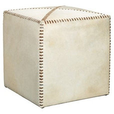 Jamie Young Small White Leather 16-Inch-H Cube Ottoman - #EUW6508 - Euro Style L