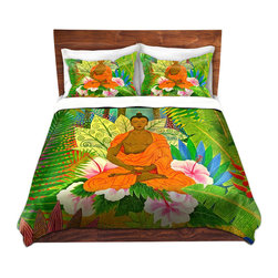 DiaNoche Designs - Duvet Cover Twill - Buddha In the Jungle - Lightweight and super soft brushed twill Duvet Cover sizes Twin, Queen, King.  This duvet is designed to wash upon arrival for maximum softness.   Each duvet starts by looming the fabric and cutting to the size ordered.  The Image is printed and your Duvet Cover is meticulously sewn together with ties in each corner and a concealed zip closure.  All in the USA!!  Poly top with a Cotton Poly underside.  Dye Sublimation printing permanently adheres the ink to the material for long life and durability. Printed top, cream colored bottom, Machine Washable, Product may vary slightly from image.