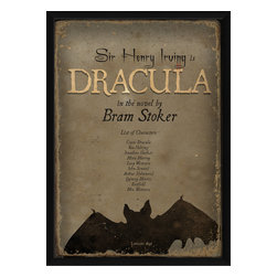 """The Artwork Factory - """"Dracula"""" Print - This museum-quality poster is a little bit creepy and a little bit bookish, just the thing to hang in your den. American made, it's ready to hang and made from high resolution, acid-free, fade-resistant paper with 12-color pigment ink, a wood frame, glass and metal sawtooth hangers."""