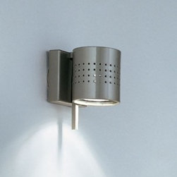 "Studio Italia Design - Minimania 1P Wall Sconce / Ceiling Light - Product Details:     The Minimania 1P Wall Sconce / Ceiling Light from Studio Italia Design is designed by Arch. Alberto Gherardi. This fixture is adjustable, and available in a satin nickel or a chrome finishes  or black. ETL Listed.  Details:                                Manufacturer:                            Studio Italia Design                                                            Designer:                            Arch. Alberto Gherardi - 1998 to 2010                                                Made in:                            Italy                                                Dimensions:                            Height: 3.9"" (10cm) X Width: 3.1"" (8cm)                                                              Light bulb:                                          1 x 50W GU10 Halogen                                                Material:                            metal"