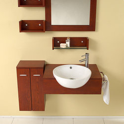 """Stile Modern Bathroom Vanity With Mirror Side Cabinet - This great retro vanity is quite the modern take on 1920-1930's design.  Mostly geometric shapes, save for the white sink which is a nice contrast of the medium dark wood.  At the same time, this vanity is very simple yet extravagant with the spacial liberties.  Instead of the traditional storage under the sink, it has been moved to the side.  Easy to double as a counter top and shelving unit.  Many faucet styles to choose from.Dimensions of Vanity:  25.5""""W x 21.5""""D x 11.38""""H. Dimensions of Mirror:  23.5""""W x 23.5""""H. Dimensions of Side Cabinet:  12.5""""W x 23.5""""H x 9""""D. Materials:  Solid Oak Wood, Ceramic Sink with Overflow. Single Hole Faucet Mount (Faucet Shown In Picture May No Longer Be Available So Please Check Compatible Faucet List). 3 Extra Shelves & Towel Bar. P-trap, Faucet, Pop-Up Drain and Installation Hardware Included"""