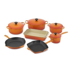 Le Creuset Signature 11-Piece Cookware Set, Flame - Flame-colored Le Creuset cookware will always be a classic.