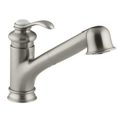 Kohler - Kohler K-12177-BN Brushed Nickel Fairfax Fairfax Pull Out Kitchen - Fairfax Pull Out Kitchen Faucet Reflecting the glamour of a bygone era, this Fairfax faucet offers an elegant finishing touch for your kitchen sink. The high spout is designed to reach over the tallest pots, while the pullout sprayhead features a stream-to-spray touch-button for maximum flexibility. Kohler K-12177 Features:  Simple to use single lever handle makes adjusting water temperature easy Swing spout offers increased clearance for filling pots and cleaning Dual function pull out spray head with touch-control allows you to switch from stream to spray MasterClean sprayface features an easy-to-clean surface that withstands mineral buildup Temperature memory allows faucet to be turned on and off at the temperature set during prior usage High-temperature limit setting for added safety Includes one white plug button Ceramic disc valves exceed industry longevity standards by over two times, ensuring durable performance for life Installation flexibility with included escutcheon plate Single lever handle meets ADA requirements Flexible supply lines simplify installation Low-flow aerator option available (product 1055715)