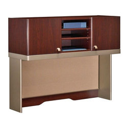 Bush Business - Cherry Tall Office Hutch with Shelves and Doo - Simplify and organize your right or left corner desk with this elegant cherry finished tall hutch.  Equipped with a fabric tackboard for organization and shelves and doors for additional storage, it is certain to add luxury to your office. * Mounts on 47 in. Right or Left Corner Desk on the long edge. Includes fabric tackboard. Includes time-saving, Install-Ready features (hutches are partially assembled). Accepts light pack (not included). 47.244 in. W x 15.236 in. D x 37.008 in. H