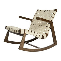 Greenbelt Rocker - No Brass Tacks, Walnut Finish, Natural Cotton