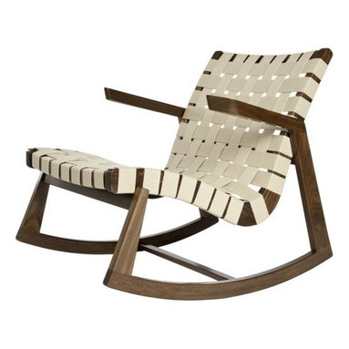 Rapson-Inc. - Greenbelt Rocker - No Brass Tacks, Walnut Finish, Natural Cotton - One of just a handful of modern classic rocking chairs, this iconic form has been sought after since its first introduction by H.G. Knoll in 1945. Always known for its fusion of American woodcraft and modern lines, the quintessential Rapson Rocker continues to be cut, fit, and finished by American craftsmen in your choice of responsible wood and cotton webbing.  Stunning lines, comfortable form, heirloom quality built with a conscience.