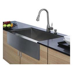 Vigo - Vigo Farmhouse Stainless Steel Kitchen Sink Faucet and Dispenser - Enhance your kitchen workspace with a Vigo Farmhouse Stainless Steel Kitchen Sink, Faucet and Dispenser.