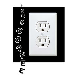 StickONmania - Outlet Coffee Sign Sticker - a vinyl decal sticker to decorate a wall outlet.  Decorate your home with original vinyl decals made to order in our shop located in the USA. We only use the best equipment and materials to guarantee the everlasting quality of each vinyl sticker. Our original wall art design stickers are easy to apply on most flat surfaces, including slightly textured walls, windows, mirrors, or any smooth surface. Some wall decals may come in multiple pieces due to the size of the design, different sizes of most of our vinyl stickers are available, please message us for a quote. Interior wall decor stickers come with a MATTE finish that is easier to remove from painted surfaces but Exterior stickers for cars,  bathrooms and refrigerators come with a stickier GLOSSY finish that can also be used for exterior purposes. We DO NOT recommend using glossy finish stickers on walls. All of our Vinyl wall decals are removable but not re-positionable, simply peel and stick, no glue or chemicals needed. Our decals always come with instructions and if you order from Houzz we will always add a small thank you gift.