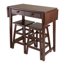 "Winsome Wood - Winsome Wood Mercer Double Drop Leaf Table w/ 2 Stools in Cappuccino - This is a perfect breakfast or island table for your kitchen or game room. Table features a double drop leaf extension for extra surface, two drawers for storage and two 21.4""H Stools . Fully extended table top is 49.76""W x 17.99""D, without leaf table top is 34""W x 17.99""D. Each drawer inside dimension is 9.84""W x 11.42""D x 1.97""H. Size of each stool is 14.17""W x 14.17""D x 21.42""H. Made of combination of solid and composite wood in Cappuccino finish. Assembly Required. Dining Table (1), Stool (2)"