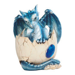 GSC - 4.5 Inch Blue Baby Dragon Stuck in Egg with Gem Figurine - This gorgeous 4.5 Inch Blue Baby Dragon Stuck in Egg with Gem Figurine has the finest details and highest quality you will find anywhere! 4.5 Inch Blue Baby Dragon Stuck in Egg with Gem Figurine is truly remarkable.