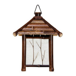 """Oriental Furniture - 12"""" Japanese Bamboo Pagoda Lantern - Dark - A beautiful, dark stained bamboo wall sconce, sturdily crafted in a lovely Japanese lantern design. Hand-made, crafted from kiln dried split bamboo, and classic """"washi"""" paper lantern shades, with lovely twig inlays. Note that these wall sconces require professional installation. Wall sconces conveniently provide soft, warm, cozy """"mood"""" lighting anywhere in the home or professional office."""