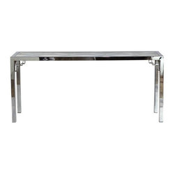 Metal Diamond Lattice Console Table - The metal frame of this console table forms a repeating diamond shape that can be seen through its glass inlay, adding visual interest and fabulousity!