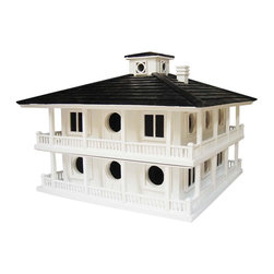 "Home Bazaar - Clubhouse Birdhouse for Purple Martins - For those hoping to attract purple martin families to their yard, this larger plantation birdhouse is perfect. The removable top allows for annual cleaning and the ""crows nest"" is screened for proper ventilation. The plantation-style house will comfortably keep multiple purple martin families while looking stylish in your garden."