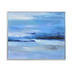 Bassett Mirror - Bassett Mirror Hand-Painted Canvas, Calmness of Blue - The Calmness of Blue is more than just a title with this hand-painted piece. Featuring a spectrum of blue hues united by thick and deliberate color strokes and paint deposits, this abstract piece seems to almost transform before your eyes while exploring the depth of its palette.