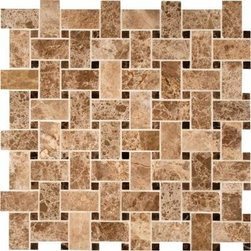 """Marbleville - MSI Emperador Light Basket Weave Pattern Polished  Marble Mosaic  in 12"""" x 12"""" S - Premium Grade Emperador Light Basket Weave Pattern Polished Mesh-Mounted Marble Mosaic is a splendid Tile to add to your decor. Its aesthetically pleasing look can add great value to the any ambience. This Mosaic Tile is constructed from durable, selected natural stone Marble material. The tile is manufactured to a high standard, each tile is hand selected to ensure quality. It is perfect for any interior/exterior projects such as kitchen backsplash, bathroom flooring, shower surround, countertop, dining room, entryway, corridor, balcony, spa, pool, fountain, etc."""