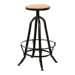 YOSEMITE HOME DECOR - Barstool - This counter height stool features a metal trimmed solid mango wood seat. The sturdy distressed metal tubular frame features a comfortable foot rest. The seat rests at a comfortable 30 height. Crafted by  skilled craftsmen in India. Assembled.