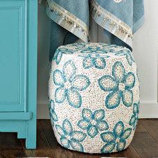 Tropical Bathroom Accessories Shell Mosaic Ottoman