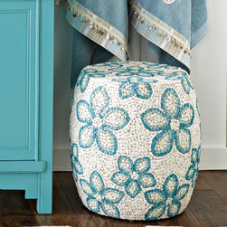 "Shell Mosaic Ottoman - Create a space for art in your master bathroom. Designs in eye-catching shades of aqua litob shell is fresh and original. Each piece is truly a work of art. Handcut and handmade in the Philippines. 17""h x 17"" dia"