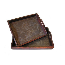 None - Solid Decorative Cedar Wood Food Serving Tray Set - Wood finish: Antique dark red Materials: White cedar wood, faux leather Indoor or outdoor use