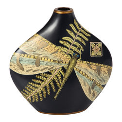 Brandi Renee Designs - Porcelain Vase, Size Large Black Whimsical Dragonflies - This is the large one of a pair of urns in matte black with hand painted dragon flies. Perfect alone or in a decor grouping.