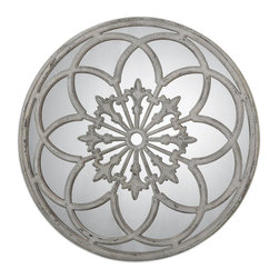 Uttermost - Uttermost Conselyea Round Mirror 13868 - Ornate, heavily distressed, aged ivory finish with rust bronze undertones.